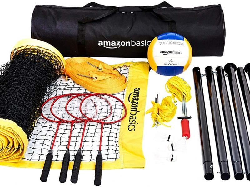 AmazonBasics Outdoor Volleyball And Badminton Combo Set With Net (Renewed)