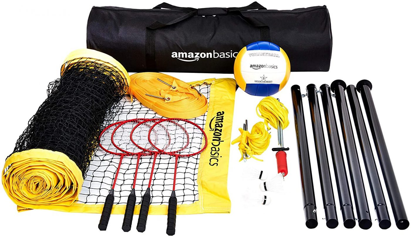 AmazonBasics Outdoor Volleyball And Badminton Combo Set With Net (Renewed)
