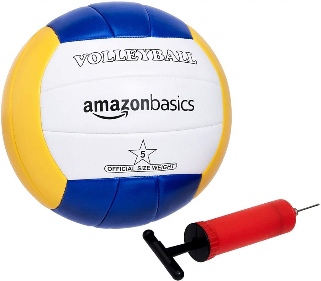 AmazonBasics Outdoor Volleyball and Badminton Combo Set ball