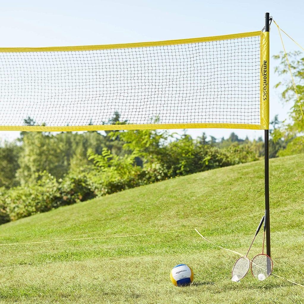 AmazonBasics Outdoor Volleyball and Badminton Combo Set set up