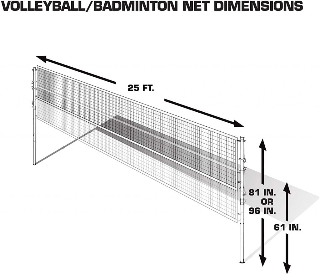 EastPoint Sports Deluxe Volleyball Badminton Net Set dimensions