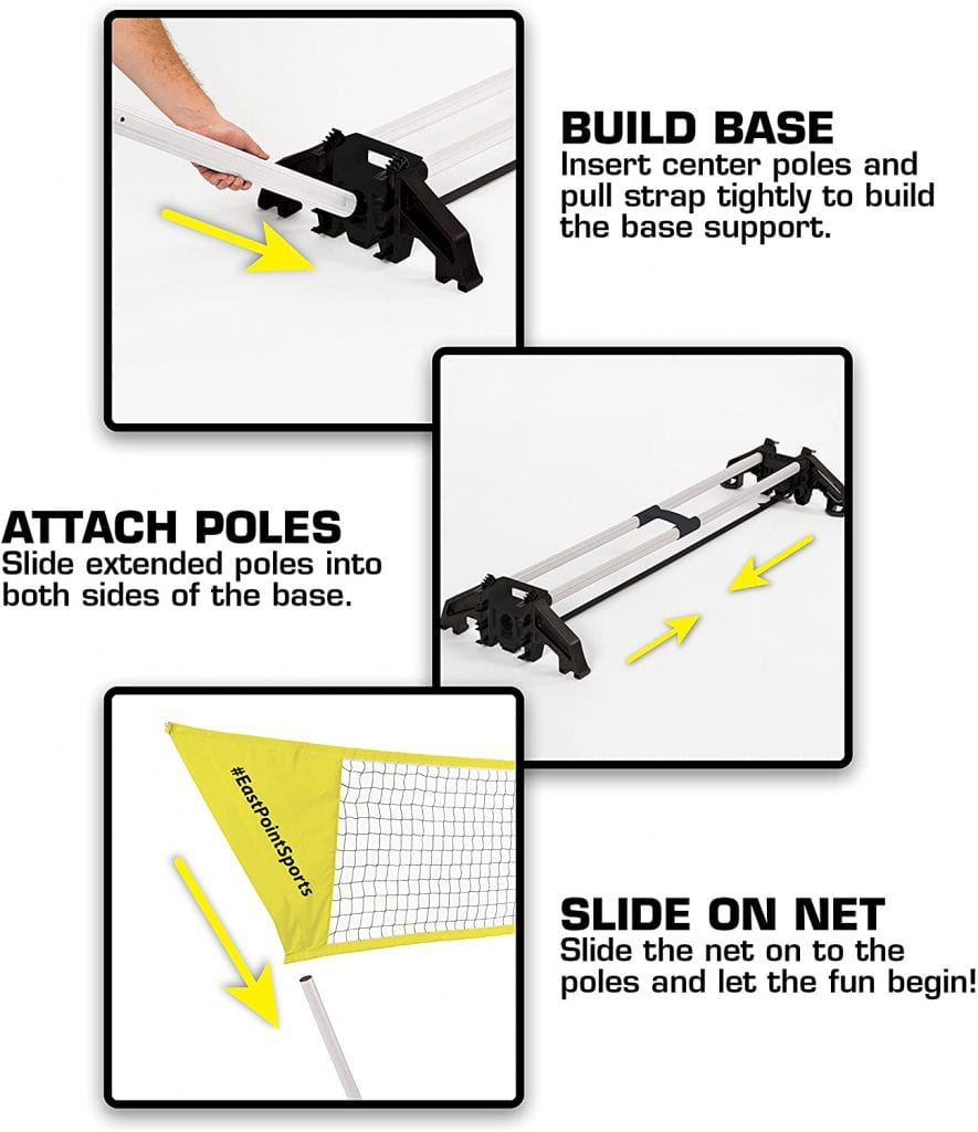 EastPoint Sports Easy Setup Regulation Badminton Set instruction