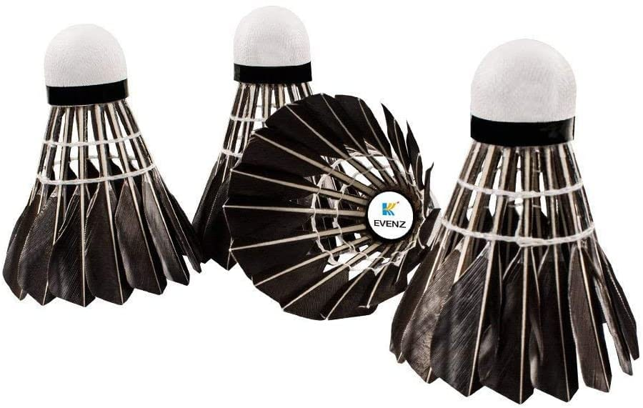 KEVENZ Goose Feather Badminton Shuttlecocks black