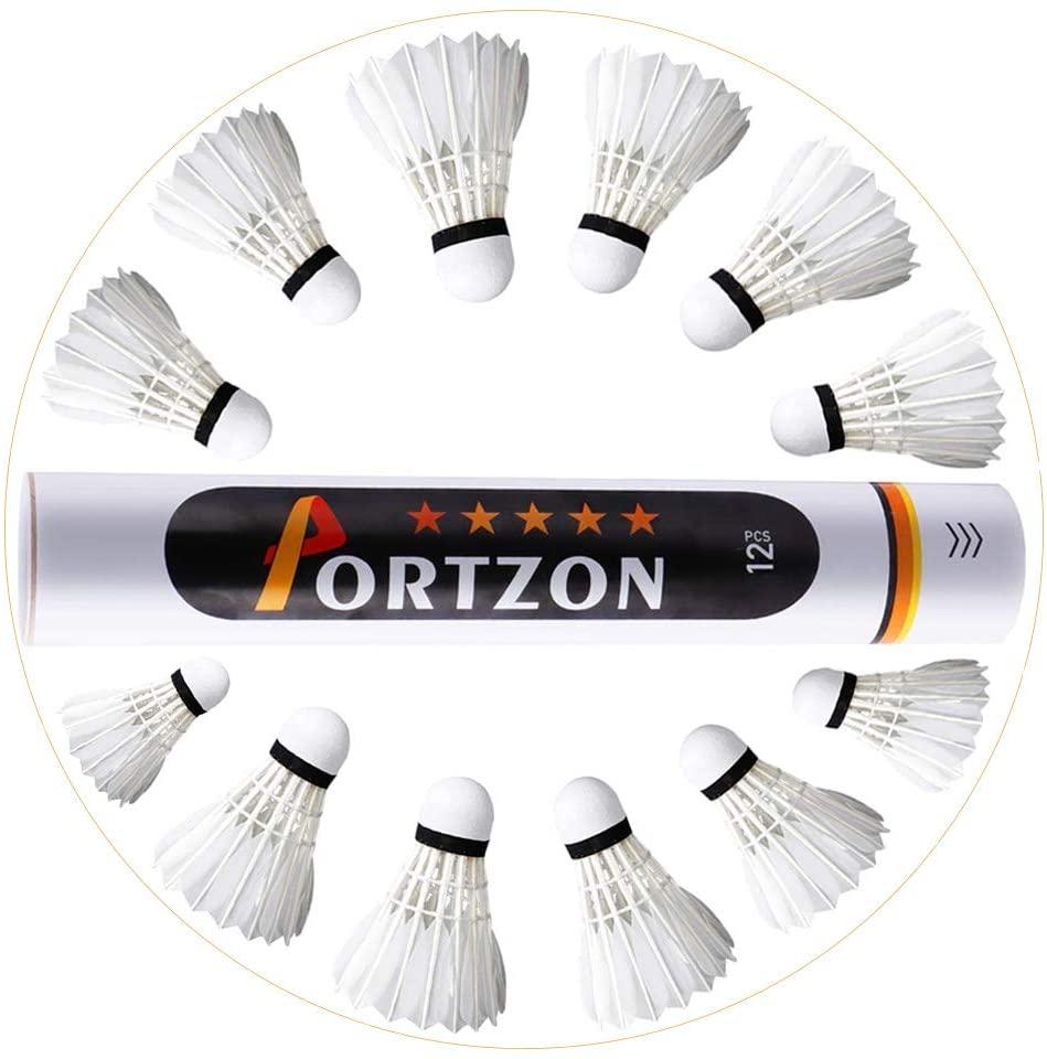Portzon Goose Feather Badminton Shuttlecocks