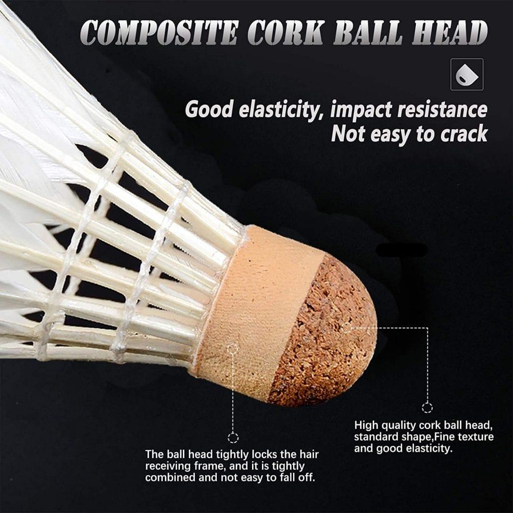 TEOZZO Goose Feather Badminton Shuttlecocks cork head