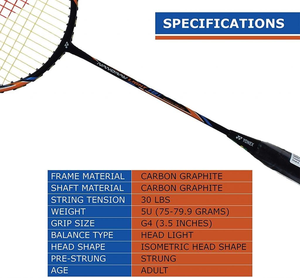 YONEX Nanoray Light 18i Badminton Racquet specs
