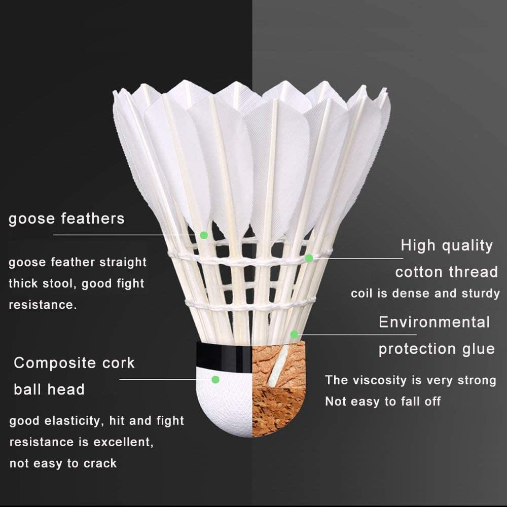 ZHENAN Goose Feather Badminton Shuttlecocks features